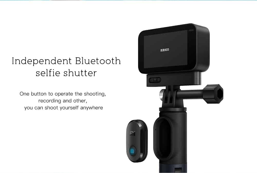 Xiaomi XXJZPG01YM Bluetooth Selfie Stick Tripod Monopod for Xiaomi MiJia Mini Sport Camera- Black